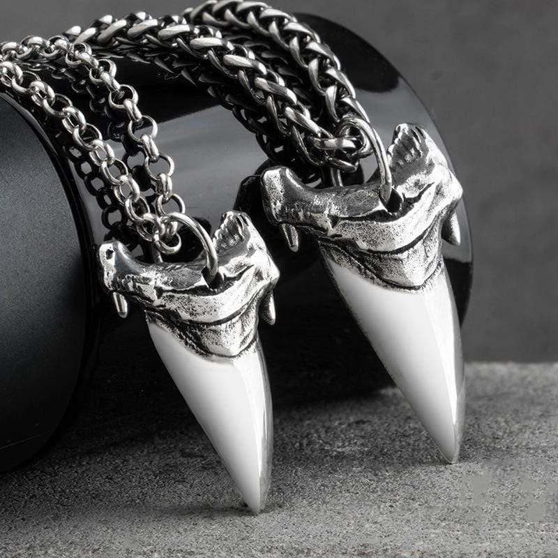 Shark Teeth Sterling Silver Animal Pendant