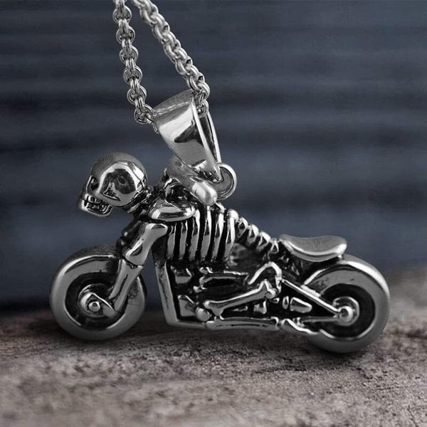 Motorcycle Sterling Silver Skull Pendant