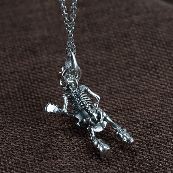 Playing Guitar Sterling Silver Skull Pendant
