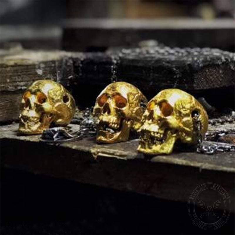 Vintage Gold Color Skull Necklace | Gthic.com