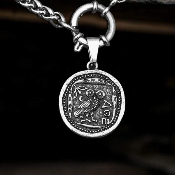 Vintage Owl Stainless Steel Coin Necklace