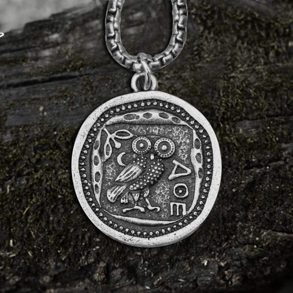 Vintage Owl Stainless Steel Coin Pendant