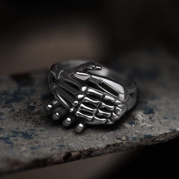 Combined Hands Stainless Steel Skull Ring | Gthic.com
