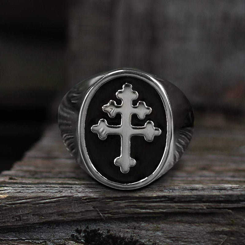 Cross of Lorraine Stainless Steel Masonic Ring | Gthic.com