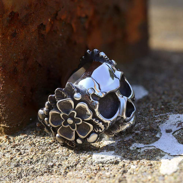 Mexican Flower Stainless Steel Sugar Skull Ring | Gthic.com