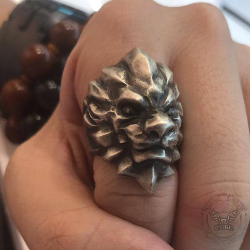 3D Lion Sterling Silver Beast Ring