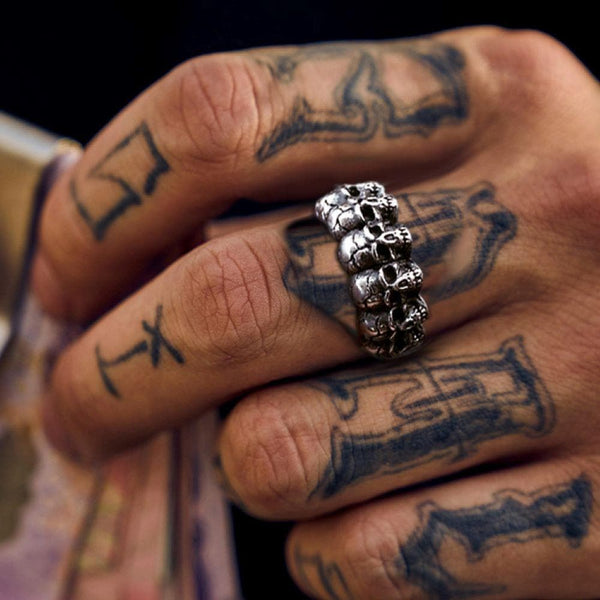 Surrounded Titanium Stainless Steel Skull Ring | Gthic.com