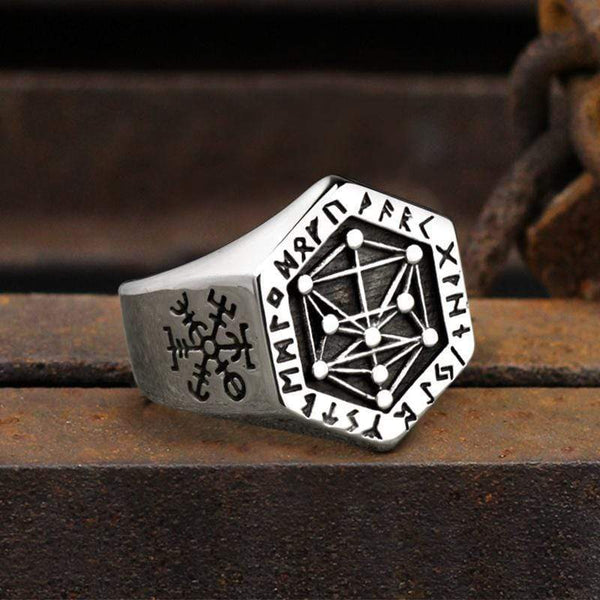 Compass Stainless Steel Viking Ring