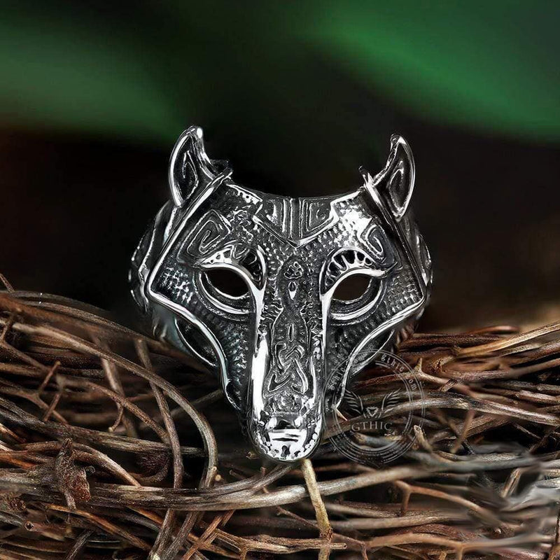 Nordic Wolf Stainless Steel Viking Ring