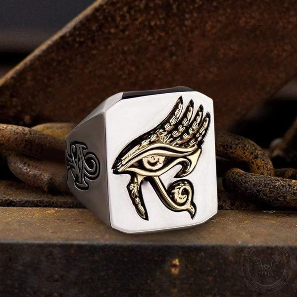 Eye of Horus Stainless Steel Egyptian Mythology Ring