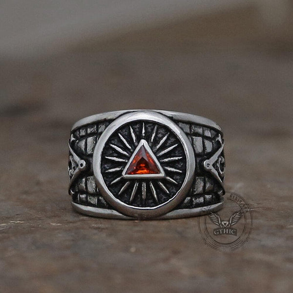 Red Crystal Triangle Stainless Steel Masonic Ring
