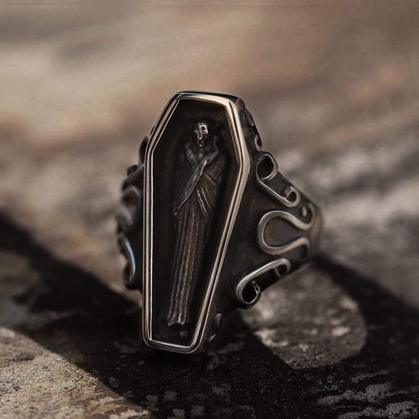 Funeral Vampire Coffin Stainless Steel Gemstone Ring