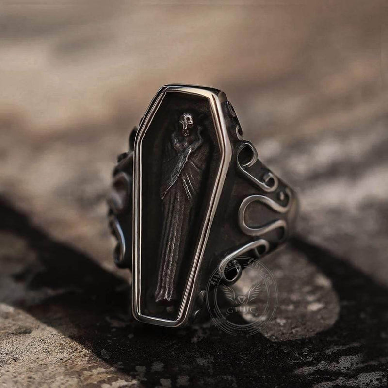 Funeral Vampire Coffin Stainless Steel Skull Ring | Gthic.com