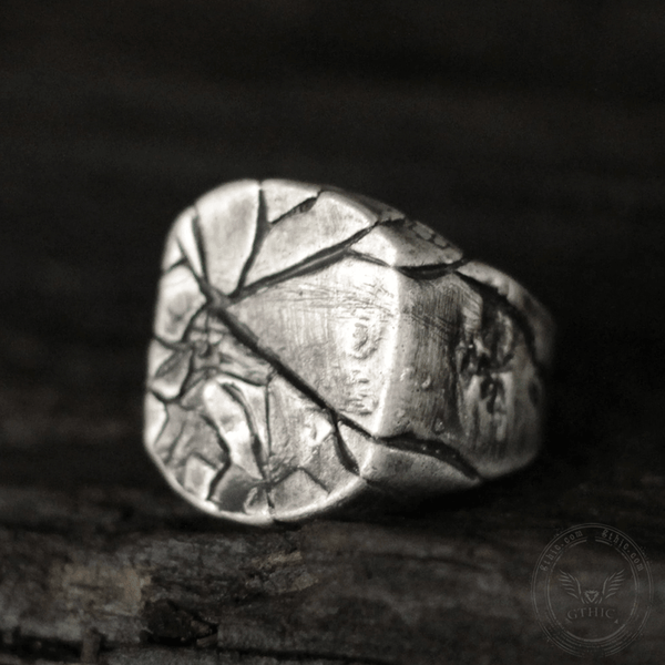 Cracked Stone Texture Sterling Silver Brass Ring