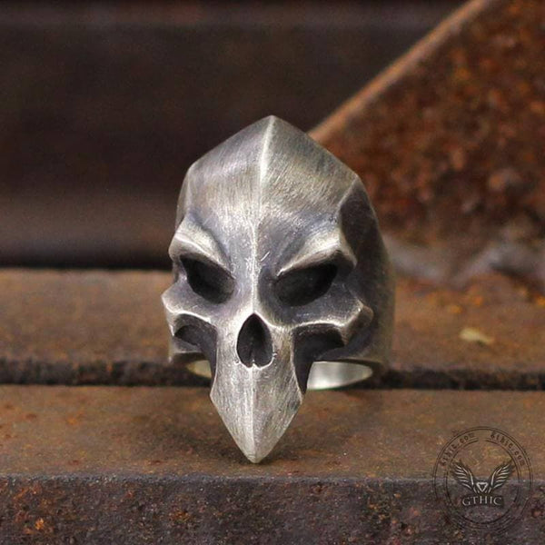 Dark Knight Helmet Sterling Silver Skull Ring