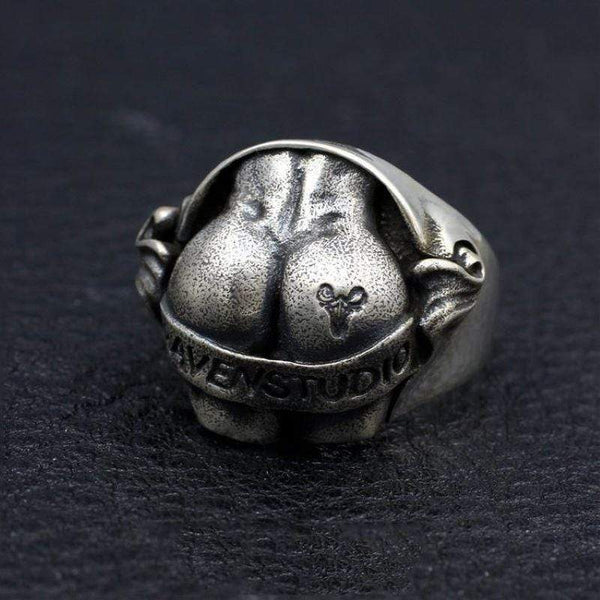 Butt Shaped Sterling Silver Ring
