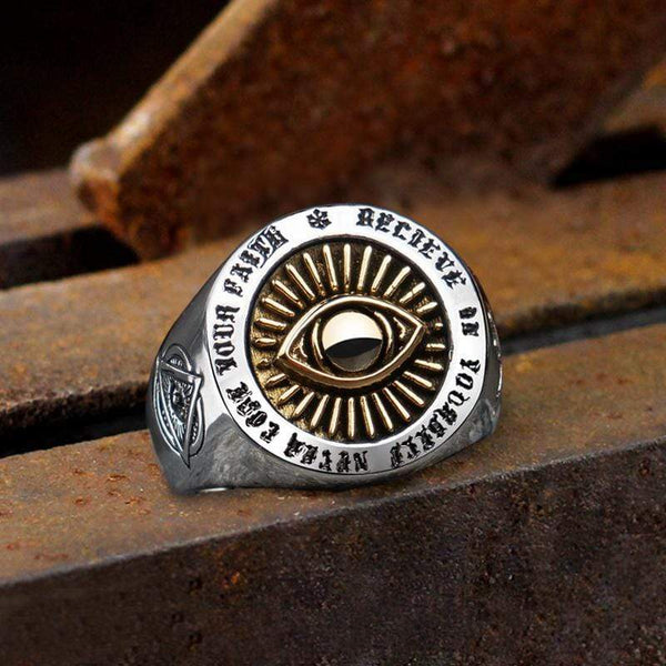 Freemason Eye Of Providence Sterling Silver Masonic Ring