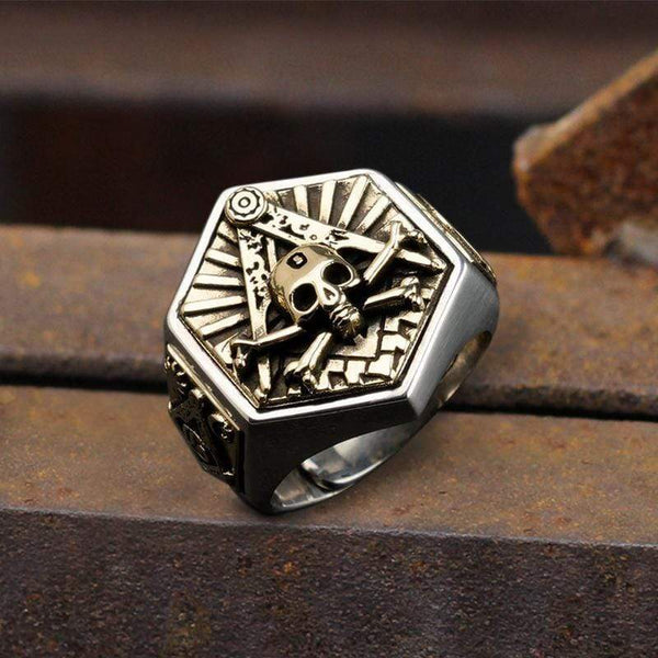 Freemason Light Sterling Silver Masonic Skull Ring