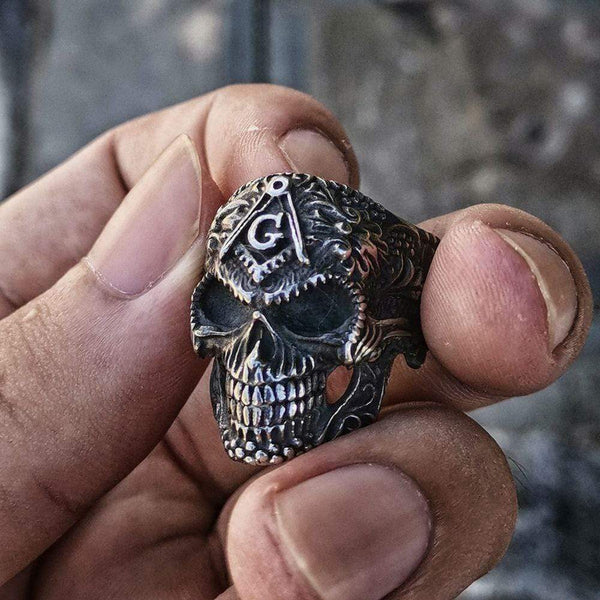 Heavy Metal Sterling Silver Masonic Skull Ring