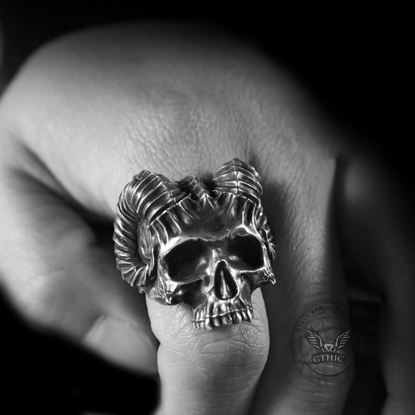 Horned Devil Sterling Silver Skull Ring