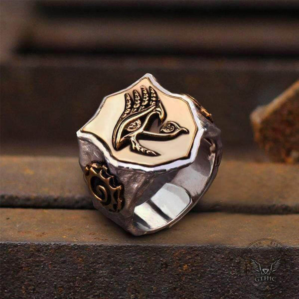 Horus Eyes Sterling Silver Egypt Mythology Ring