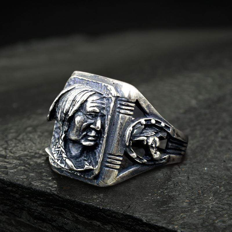 Indian Portrait Sterling Silver Ring