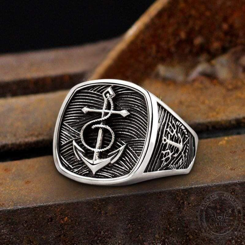 Navy Anchor Sterling Silver Marine Ring