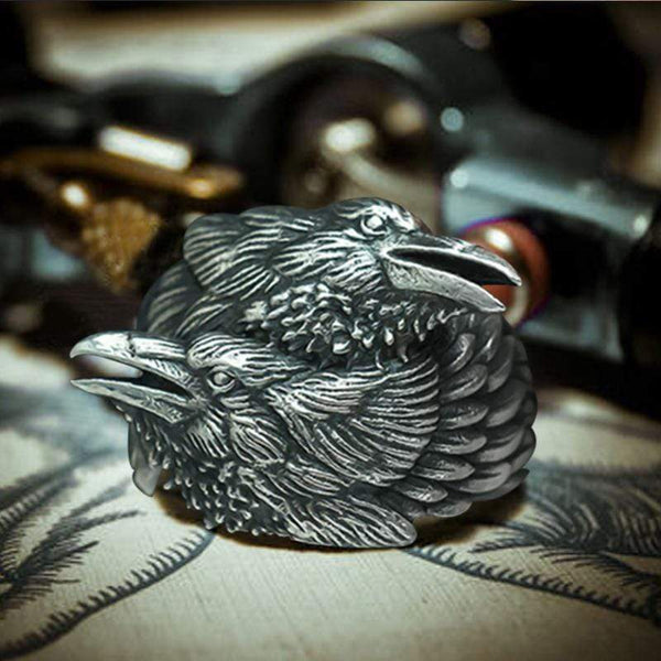 Odin Ravens Huginn and Munin Sterling Silver Viking Ring