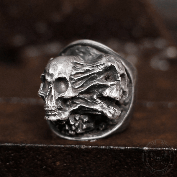 Ripped Soul Sterling Silver Brass Skull Ring