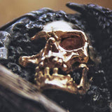 Crow sterling silver skull ring