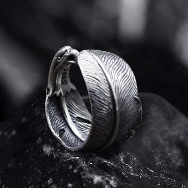 Indian Eagle Feather Sterling Silver Animal Ring