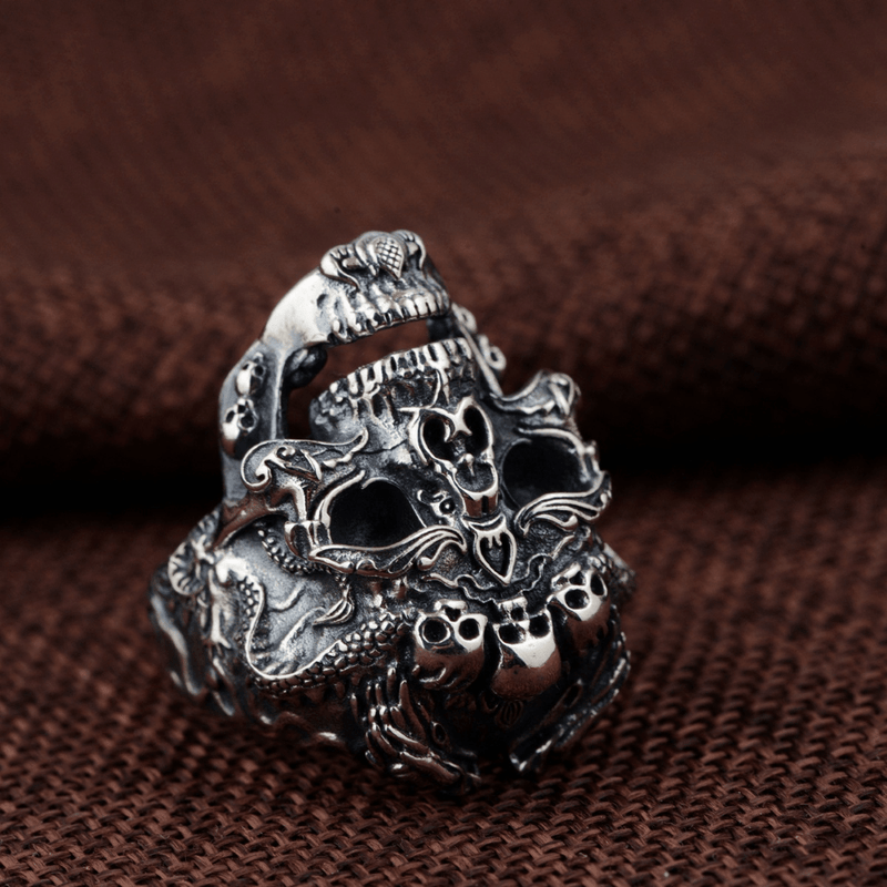 Double Dragon Sterling Silver Skull Ring