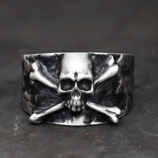 Crossbones Pirate Sterling Silver Skull Ring