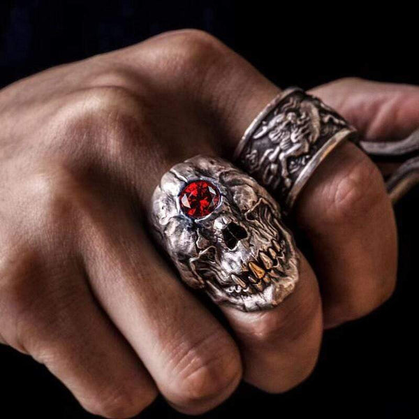 Cyclops Red Crystal Sterling Silver Skull CZ Mythology Ring