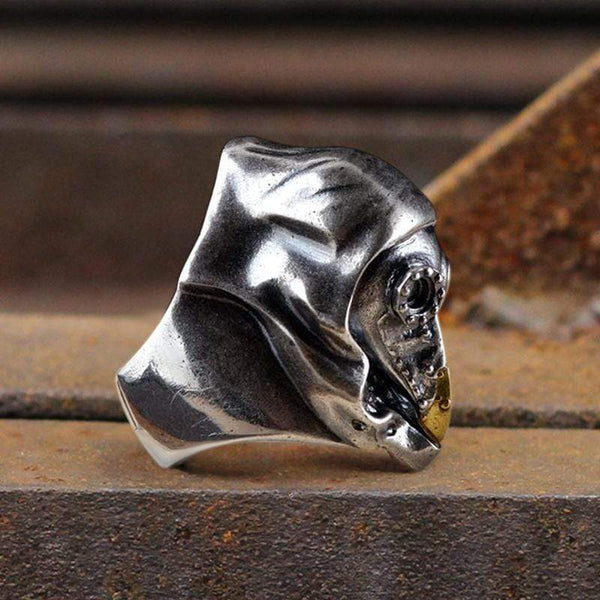 Plague Doctor Sterling Silver Skull Ring