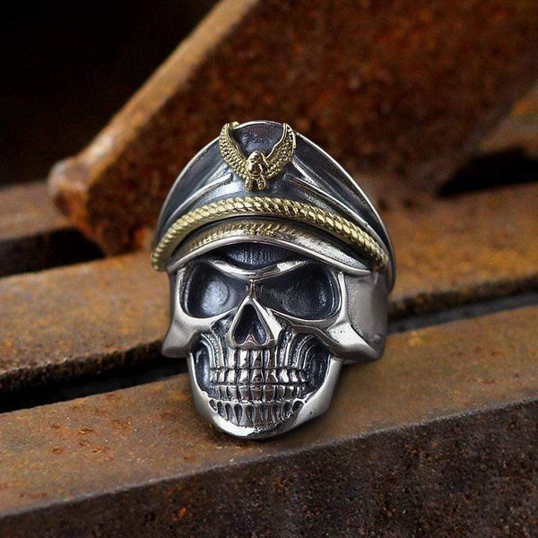 Naval Instructor Sterling Silver Skull Ring