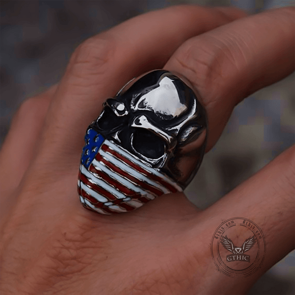American Flag Stainless Steel Skull Ring | Gthic.com