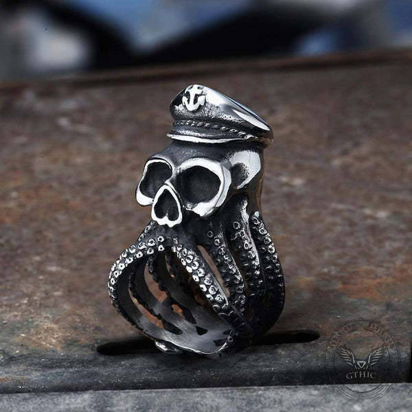 Anchor Octopus Skull Ring
