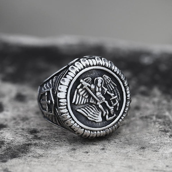 Archangel Saint Michael Stainless Steel Men's Ring Handcrafted