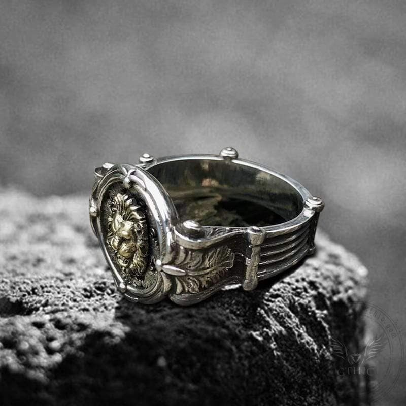 Baroque Lion Sterling Silver Seal Ring