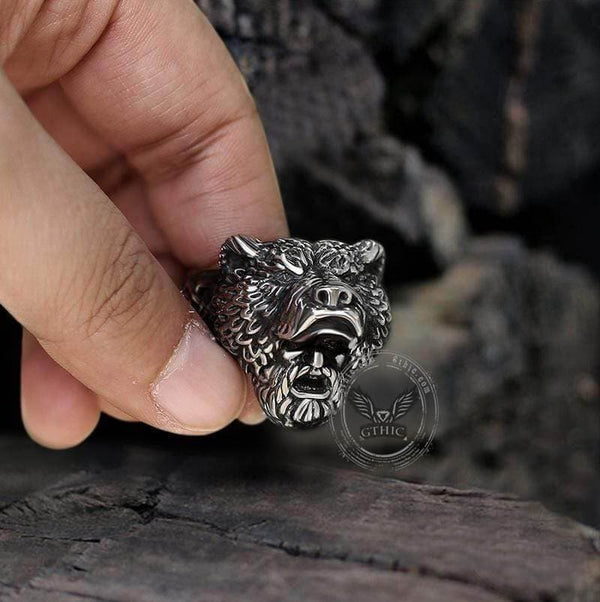 Bear Warrior Biker Viking Ring | Gthic.com