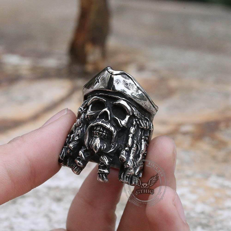 Black Pearl Pirates Stainless Steel Skull Ring