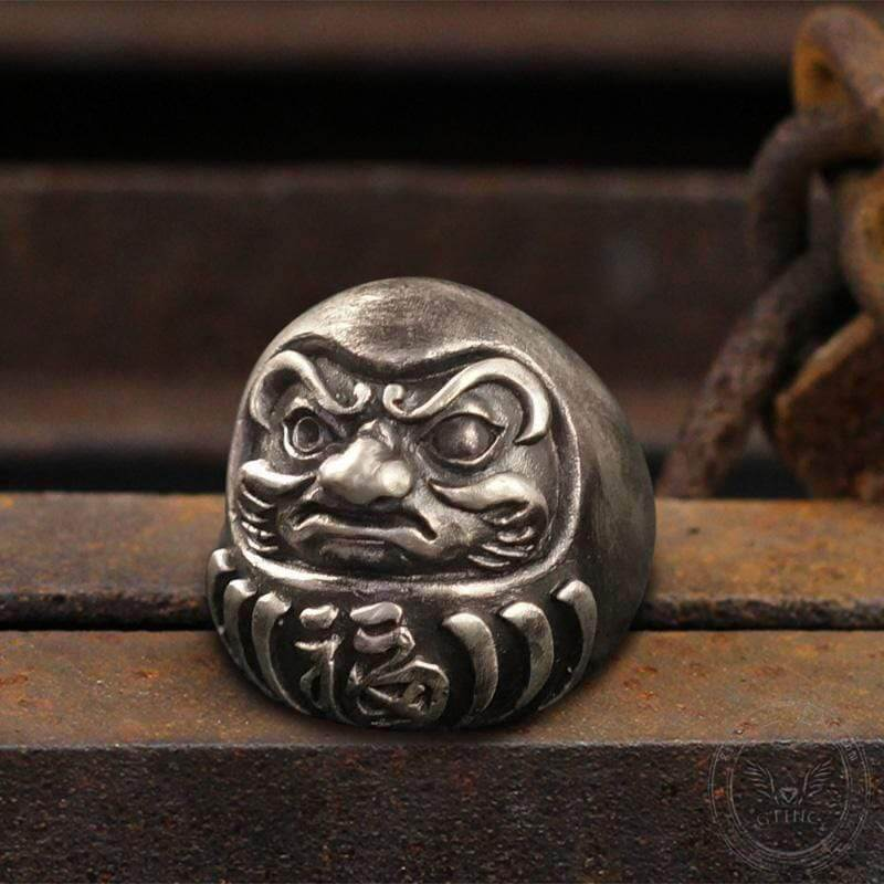 Blessed Japanese Dharma Tumbler Sterling Silver Brass Ring