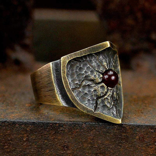 Split Shield Red Copper Ring