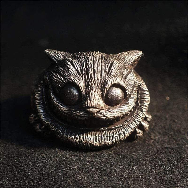 Cheshire Cat Sterling Silver Brass Ring
