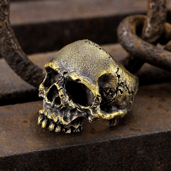 Dark Pioneer Brass Skull Ring