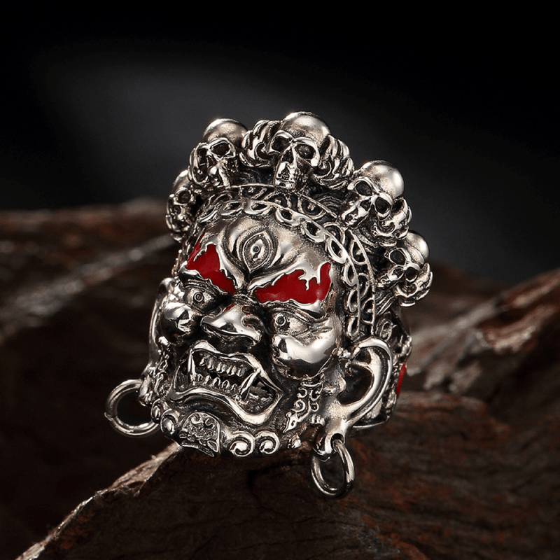 Buddha God of Wealth Stainless Steel Skull Ring