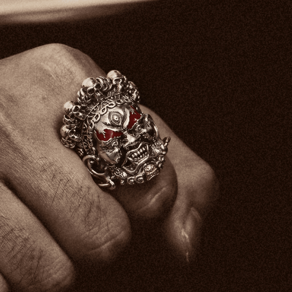 Buddha God of Wealth Stainless Steel Skull Ring | Gthic.com