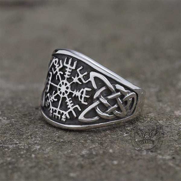 Celtic Knot Compass Runic Viking Ring