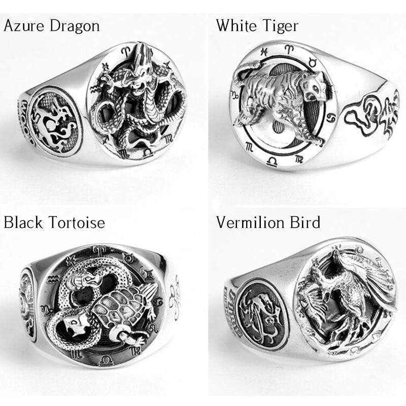Chinese Four Symbols Sterling Silver Ring